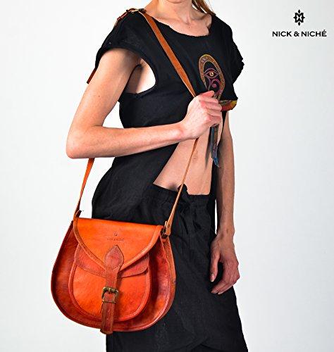 NICK & NICHE Genuine Leather Handmade Purse Crossbody Shoulder Bag (Attention Satchel)