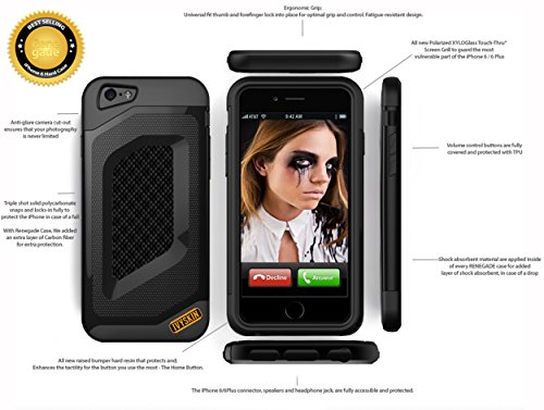 Renegade Case Ultra-Rugged in Jet Black with Clear Tempered XyloGlass Touch-Thru® grille for Apple iPhone 6 (4.7 ()