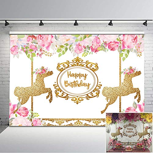 Mehofoto Carousel Birthday Backdrop Pink Floral Gold Photography Background 7x5 Carousel Party Vinyl Backdrops for Children Kids
