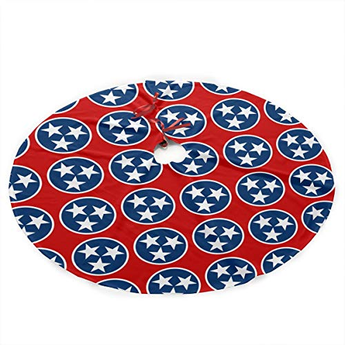 Giinly 35.5 Inch Christmas Tree Skirt,Classic Home Holiday Party Decoration,Tennessee State Flag Design