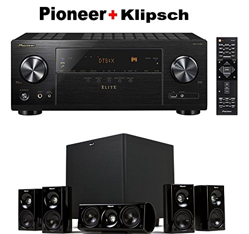 Pioneer Elite Audio & Video Component Receiver Black (VSX-LX102) + Klipsch HDT-600 Home Theater System Bundle (Elite Component Video)