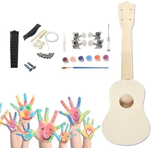 earlyad Kit De Ukelele DIY Guitarra Pequeña De Madera para Pintar ...