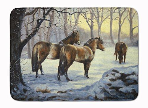Caroline's Treasures BDBA0122RUG Horses in Snow by Daphne Baxter Machine Washable Memory Foam Mat, 19 X 27, Multicolor