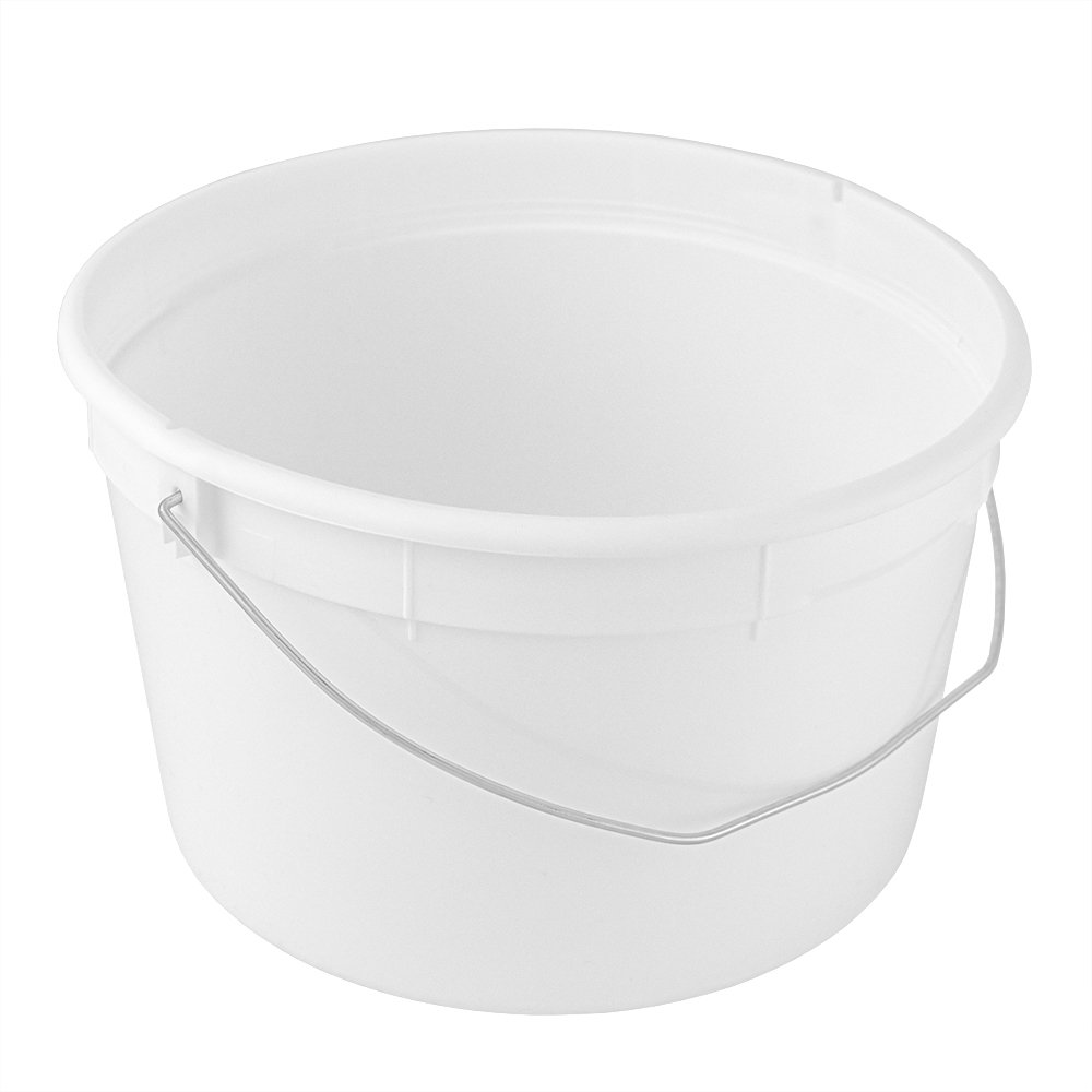 4 Qt./1 Gallon Food Grade Round White Plastic Bucket with Wire Handle - Recyclable - 10 Pack - BUCKETS ONLY - NO Lid Available by ePackageSupply (Image #1)