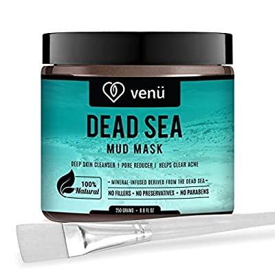 Organic Dead Sea Mud Mask - Face and Body Beauty Detox Treatment, Deep Skin Cleanser - Helps Reduce Pores, Acne, Stretch Marks, Cellulitis and Wrinkles - Brush Included - by Venu from Venu