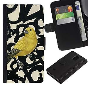 Planetar® Modelo colorido cuero carpeta tirón caso cubierta piel Holster Funda protección Para Samsung Galaxy S5 Mini / SM-G800 (Not For S5!!!) ( Números de aves Primavera Resumen)