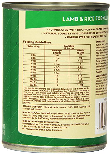 Natural Choice Dog Large Breed Lamb and Rice Dinner Puppy Food Cans, 12-1/2-Ounce, 12 pack cans