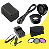 BP-819 Lithium Ion Replacement Battery w/External Rapid Charger + 58mm 3 Piece Filter Kit + 58mm Wide Angle Lens + 58mm 2x Telephoto Lens + Mini HDMI Cable for Canon Vixia HFG10 XA10 HFS10 HFS20 HFS21 HFS30 HFS100 HFS200 Digital Camcorder DavisMAX BP819 Accessory Bundle