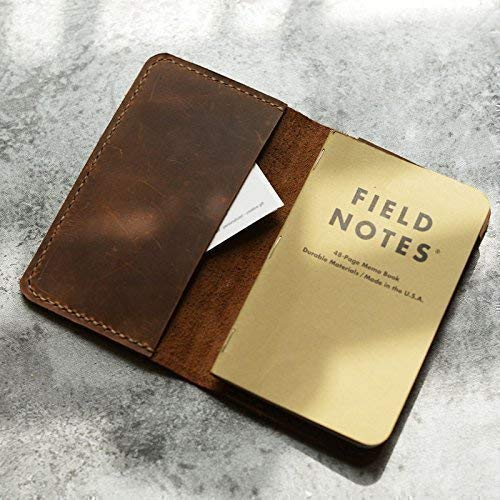 Leather Journal Cover for Moleskine Cahier Notebook Pocket size 3.5'' x 5.5'' Field Notes Cover Vintage Refillable Notepad Handmade