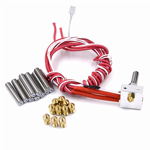 Hot End for 3D Printer Assembled Extruder DIY Hotend 1.75mm Filament 0.4mm Nozzle 12V 40W Heater Including 10PCS Extra Nozzles and Tubes(30mm Length)