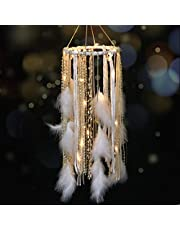 Dream Catcher Mobile Large Light Up Dream Catchers with Golden Shining Lace& Bells LED Fairy Lights Battery Powered Hanging Ornaments- 7.9Wx 22L Inches Feathers Wedding Boho Decorations Nursery Decor