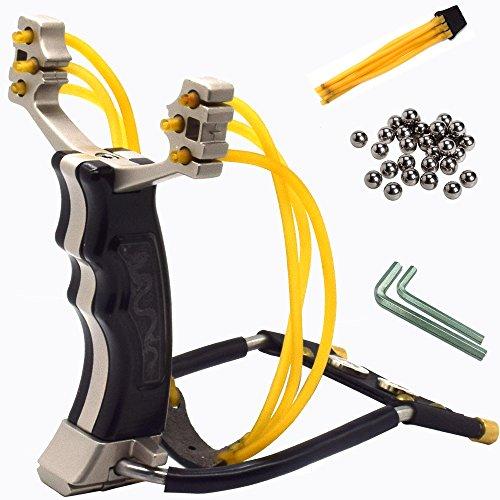 Hunting Slingshot,Heavy Duty Wrist Slingshot Sling Shot for Adult Outdoor Catapult Slingshot with 2 Rubber Bands 100 Slingshot Ammo Black