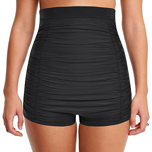 Hilor Women's Retro Ultra High Waisted Swim Bottom Boy Leg Tankini Shorts Ruched Swimwear Briefs Black 10 -