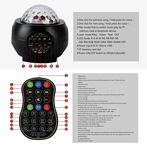 LED26 Colors Star Projector Night Light,Projector with Remote Control & Music Speaker Starry Projector for,Christmas Halloween Gifts,Baby Kids Adults Bedroom/Game Room/Home Theatre (Black)