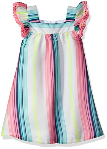 Rare Editions Girls' Little' Neon Striped Peasan Dress, White/Pink/Lime, 2T