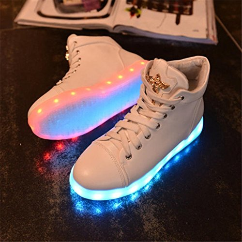 up Light Shoes Sneakers Shoes High LED Flashing sexphd Top Women's White Sneakers Fashion Sports XqxIwUYB