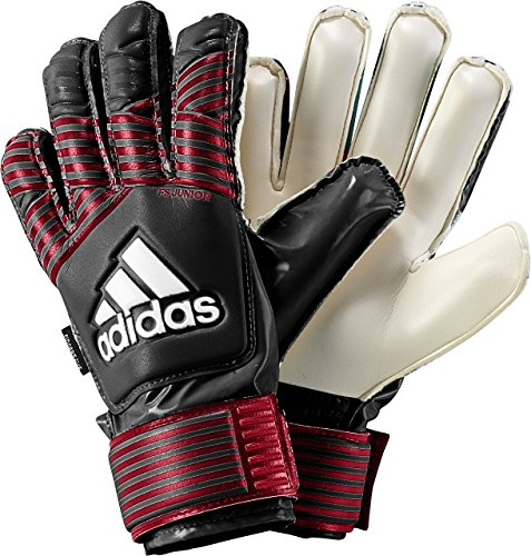adidas Performance ACE Fingersave Junior Goalie Gloves, Black/FCB True Red/White, Size 7