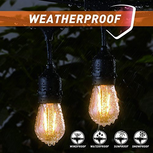 48FT Outdoor String Lights with 15 Shatterproof LED S14 Edison Light Bulbs-UL Listed Commercial Patio Lights for Deck Backyard Porch Balcony Bistro Cafe Pergola Gazebo Market Garden Decor, Warm White by Brightown (Image #1)