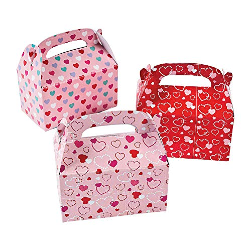 (Valentine Treat Boxes - Set of 24 Heart Paper Mini Treat Boxes)