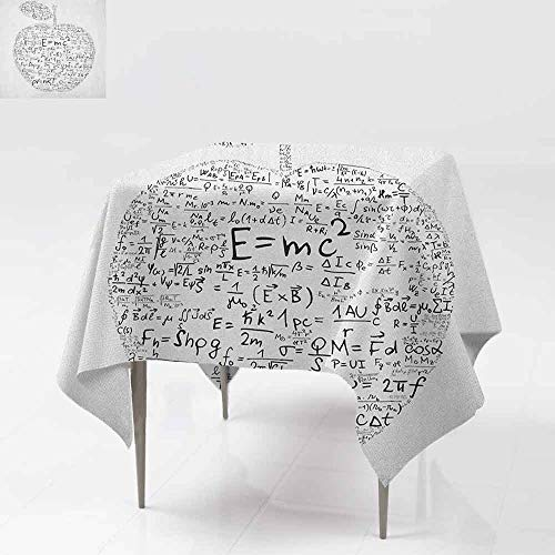 AndyTours Tablecloth for Kids/Childrens,Educational,Equations and Formulas in The Shape of an Apple Learning Knowledge Student,for Events Party Restaurant Dining Table Cover,60x60 Inch Black White ()