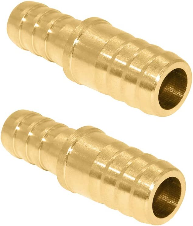 """Beduan Brass Hose Barb Reducer, 3/8"""" to 5/16"""" Barb Hose ID, Reducing Barb Brabed Fitting Splicer Mender Union Air Water Fuel (Pack of 2)"""