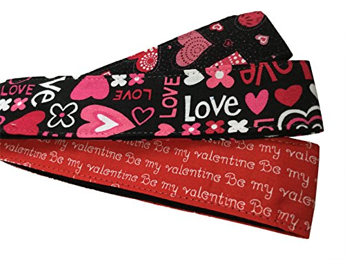 (3 Count Valentine's Day Soft Skinny Headbands Be My Valentine Love Pink Hearts)