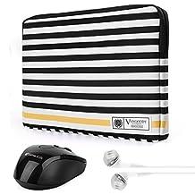 "Vangoddy Luxe G Series Black White Stripe Protect Padded Sleeve for HP Chromebook / Elitebook / Envy / Pavilion / Probook / Stream Series 13.3"" 14"" Tablet Laptop + Wireless Mouse + Headphone"