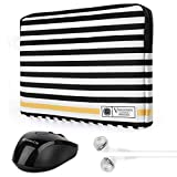 Vangoddy Luxe G Series Black White Stripe 15.6 Inch Lightweight Padded Carrying Sleeve