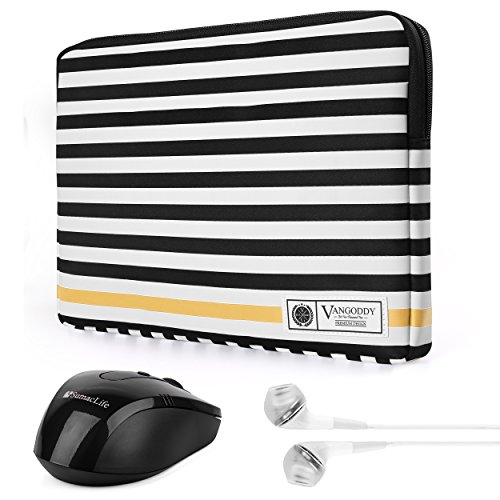 (Luxe G Series Black White Stripe 15.6 Inch Lightweight Padded Carrying Sleeve Case for Samsung Notebook 5, Notebook 7 Spin, Toshiba Satellite C55 L55 15.6 inch Laptop with Wireless Mouse and Earbud)