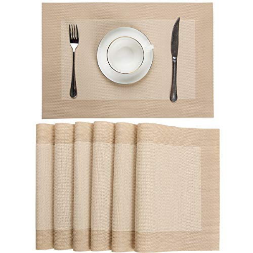 Pauwer PVC Placemats Set of 6 Washable Woven Vinyl Placemat for Dining Table Heat Resistant Non-Slip Kitchen Table Place Mats Wipe Clean (Set of 6,Beige)