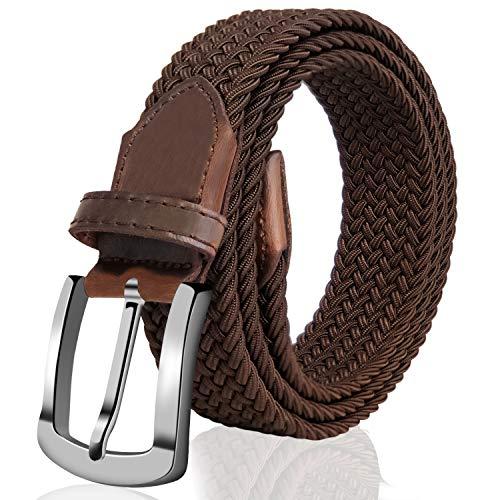 Fairwin Elastic Braided Belt,1.3'' Wide Stretch Belt, New Buckle Fabric Woven Men/Women Novelty Belt (Belt Buckle Cotton Thick)