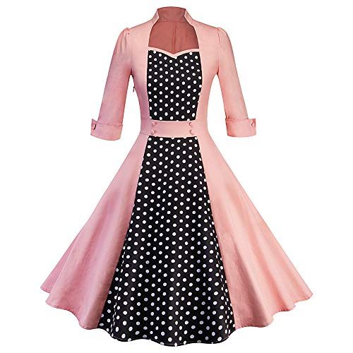 Caopixx Dress for Women's Elegant Classy V-Neck Audrey Hepburn 1950s Vintage Rockabilly Swing Dress