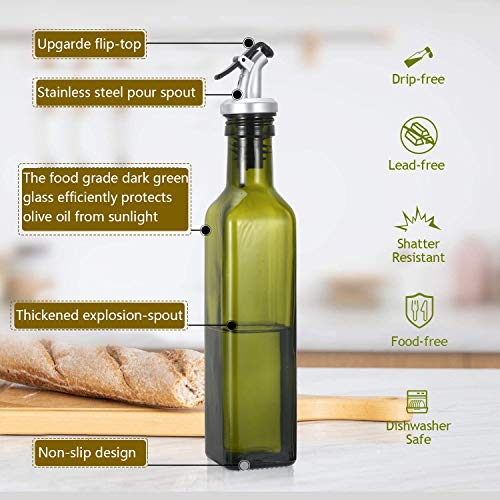Gusnilo Glass Olive Oil Bottle - 250ml Second Generation Green Oil & Vinegar Cruet with Pourers and Funnel - Olive Oil Carafe Decanter for Kitchen-(8.5 Oz Ounce)