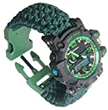Survival Bracelet Watch, Men & Women Emergency Survival Watch with Paracord/Whistle/Fire Starter/Scraper/Compass, 6 in 1 Multifunctional Outdoor Gear by BlueStraw