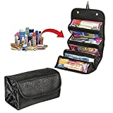 BestDeal Travel Cosmetic Bag Roll up Makeup Toiletry Bags Collapsible Roll 4 Zip