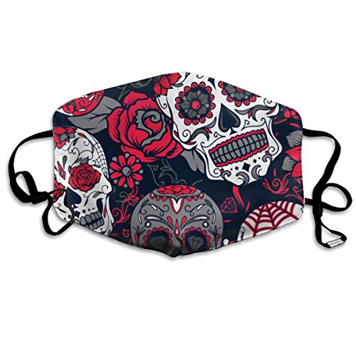 Floral Sugar Skull Anti Dust Face Mask,Reusable Warm Windproof Mouth Mask