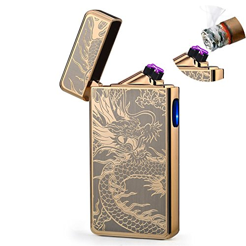 - Dual Arc Plasma Lighter USB Rechargeable Windproof Flameless Butane Free Electric Lighter for Cigar,Cigarette,Candle (Gold Dragon)