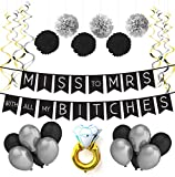 Miss To Mrs Classy & Sassy Bachelorette Black & Silver Party Pack - Bachelorette Party Decorations, Favors and Supplies
