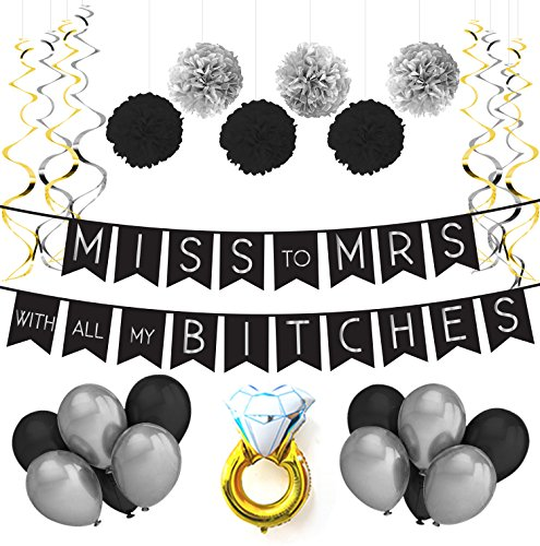 Miss To Mrs Classy & Sassy Bachelorette Black & Silver Party Pack - Bachelorette Party Decorations, Favors and (Funny Beach Themed Costumes)