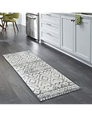 Maples Rugs Runner Rug - Abstract Diamond 2 x 6 Distressed Style Non Skid Hallway Entry Rugs Runners [Made in USA] for Kitchen and Entryway, Neutral