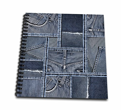 3dRose Andrea Haase Allover Pattern - Blue Denim Patchwork Pattern - Memory Book 12 x 12 inch (Patchwork Memories)