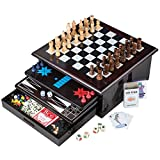 Board Game Set - Deluxe 15 in 1 Tabletop Wood-accented Game Center with Storage Drawer (Checkers,...