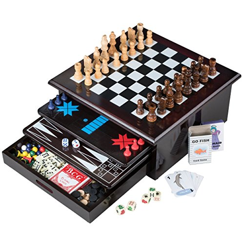 - Board Game Set - Deluxe 15 in 1 Tabletop Wood-accented Game Center with Storage Drawer (Checkers, Chess, Chinese Checkers, Parcheesi, TicTacToe, SOlitaire, Snakes and Ladders, Mancala, Backgammon, Poker Dice, Playing Cards, Go Fish, Old Maid, and Dominos)