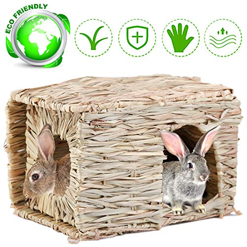 aingycy Natural Hand-Made Grass Hut Non-Toxic Bunny House Bird Cubby Nest Cage for Rabbit, Guinea Pig, Gerbils, Hamster and Other Small Animals (Grass)