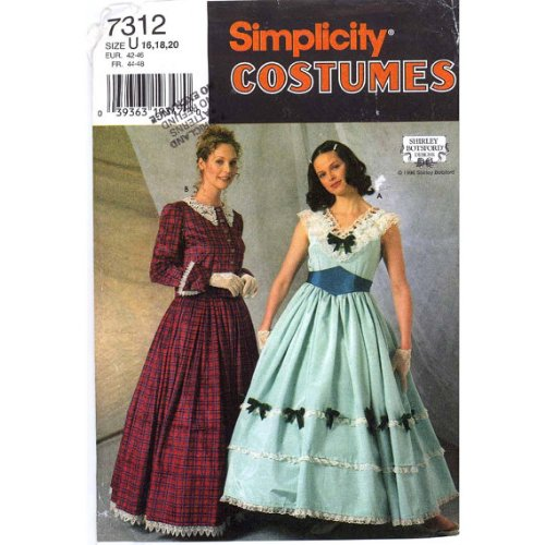 Simplicity 7312 Civil War Era (Gone with the Wind Style) Day Dress, Cape Belt Sewing Pattern, Shirley Botsford Design, Size 16 to 20]()