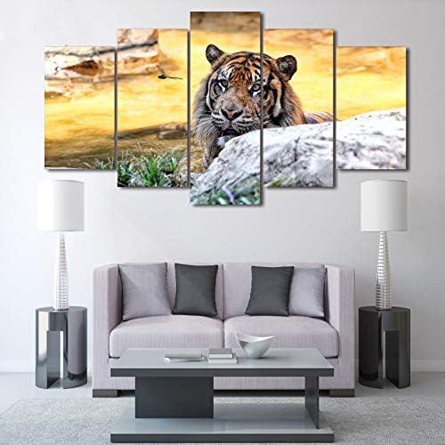 mmwin Decoración de Alta definición Impreso Póster Arte en la Pared 5 Paneles Cocina Africana Animal Restaurante Tiger Sala de Estar Fotos: Amazon.es: Hogar
