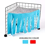 Small Pets Hideaway Corner Fleece Forest Hideout for Ferrets Chinchilla Hedgehogs Dwarf Rabbits and Other Small Animal- Accessories and Toys (Blue)