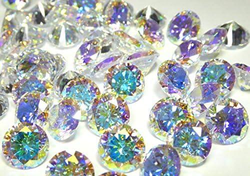 10mm 10 개 set AAAAA 큐빅 산화 지르코늄 루스 벌 거 벗은 바위 오로라 크리스탈 AB 라운드 브 릴리 언 트 컷 10 밀리 CZ / 10mm 10pcs Set AAAAA Cubic Zirconia Loose Bare Stone Aurora Crystal AB Round Brilliant Cut 10mm CZ