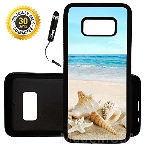 Custom Galaxy S8 Case (Ocean Theme Starfish And Seashell On Beach) Edge-to-Edge Rubber Black Cover Ultra Slim | Lightweight | by Innosub