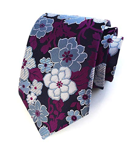 Men's Purple Blue White Silk Ties Wedding Silm Necktie Regular and Skinny Width